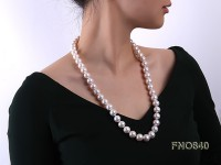 12-14mm white round freshwater pearl necklace