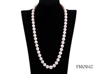 12.5-15mm   white round freshwater pearl necklace