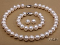 13-14mm AAA round freshwater pearl necklace,bracelet and earring set