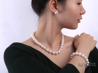 12-13mm AAA round freshwater pearl necklace,bracelet and earring set