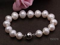 12-13mm white round freshwater pearl bracelet