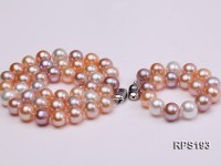 10-11mm AA round freshwater pearl necklace,bracelet and earring set