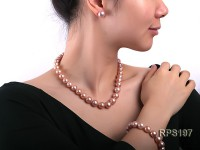 11-13mm Pink round Edison Pearl  necklace,bracelet and earring set