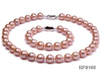 11-13mm PInk round Edison Pearl  necklace bracelet set