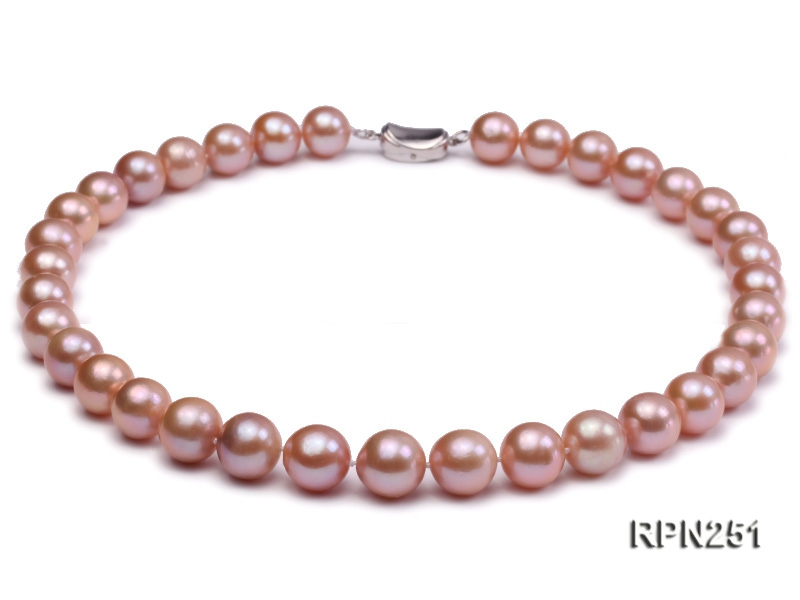 Classic 11-13mm AAA Pink Round Edison Freshwater Pearl Necklace