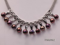 8.5mm Purple Freshwater Pearl on a Gold Plated Chain Necklace