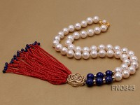 11-12mm AAA white round freshwater pearl necklace