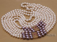 8-8.5mm AAA White Round Three-Row Freshwater Pearl Necklace