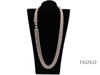 4.5×6.5mm AAA white flat three-row  freshwater pearl necklace