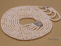 4x6mm AAA white flat five-row  freshwater pearl necklace