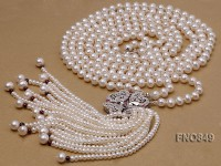 7-7.5mm AAA white round three-row  freshwater pearl necklace