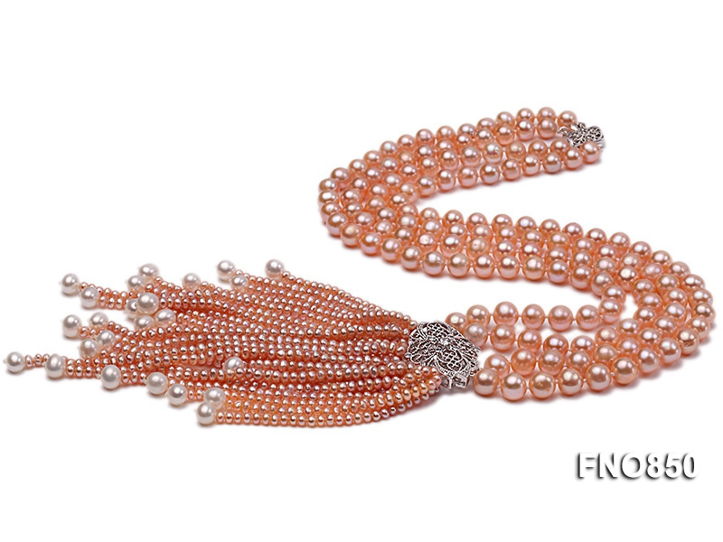 8-9mm AAA pink round two-row  freshwater pearl necklace
