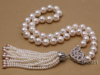 11mm AAA white round freshwater pearl necklace