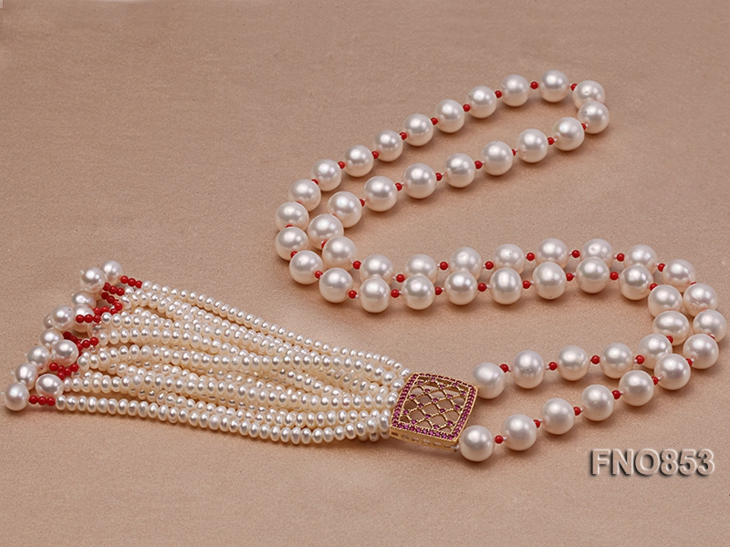 9-10mm Round White Freshwater Pearl Necklace