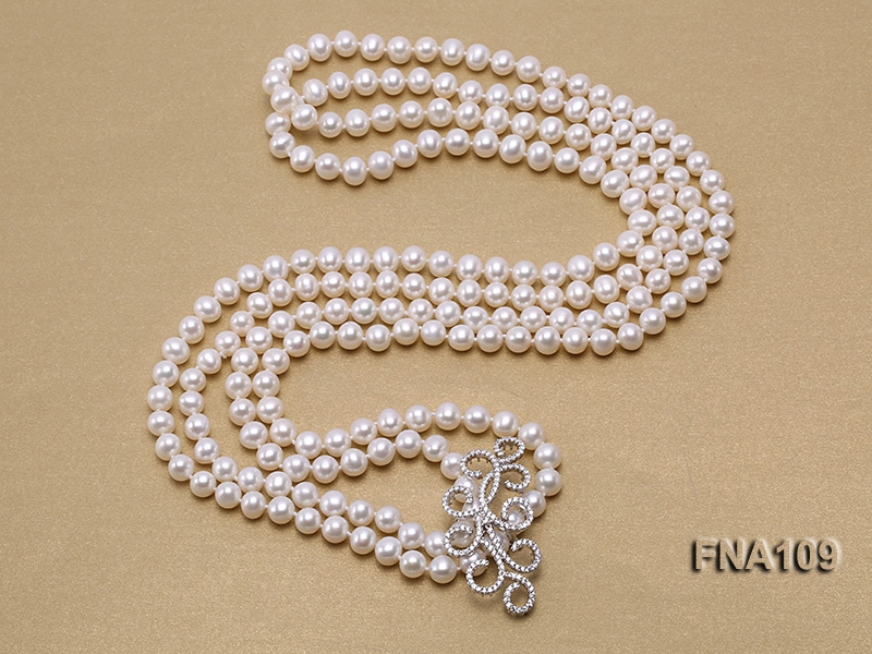 8-9mm Round White Freshwater Pearl Long Necklace