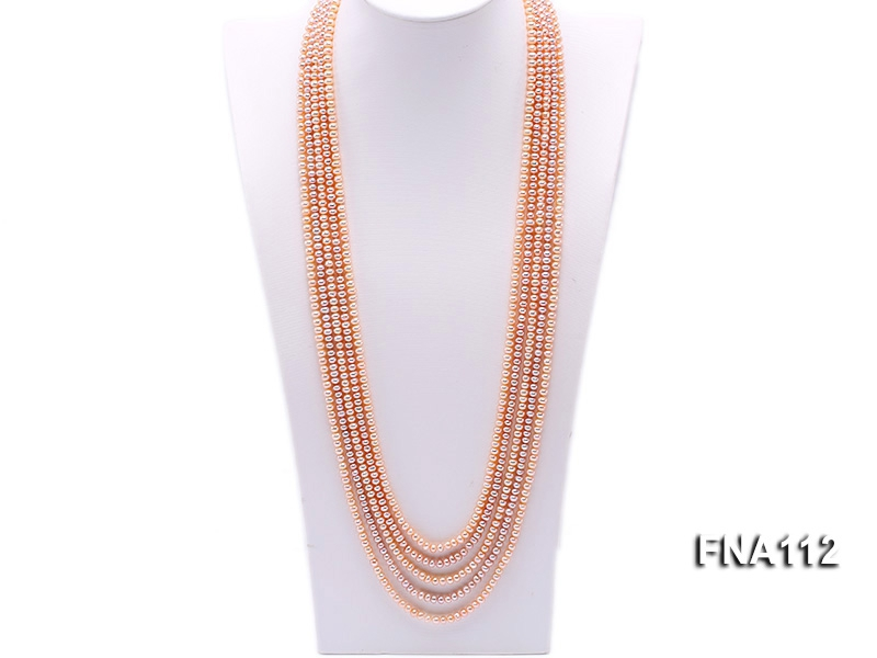 Five-Strand 4x5mm Natural pink Freshwater Pearl Necklace