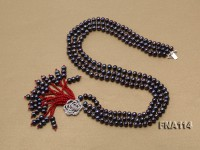 Three-Strand 6.5-7.5mm Natural black Freshwater Pearl Necklace