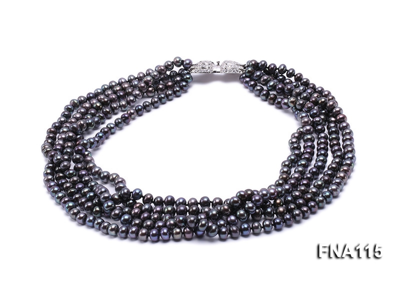 Five-Strand 6.5-7mm Black Freshwater Pearl Necklace