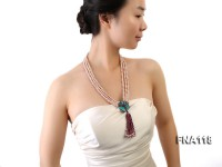 Three-Strand 6x7mm Natural pink Freshwater Pearl Necklace