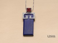15x20mm Rectangular Lapis Lazuli Pendant with Sterling Silver Holder Dotted with Zircons