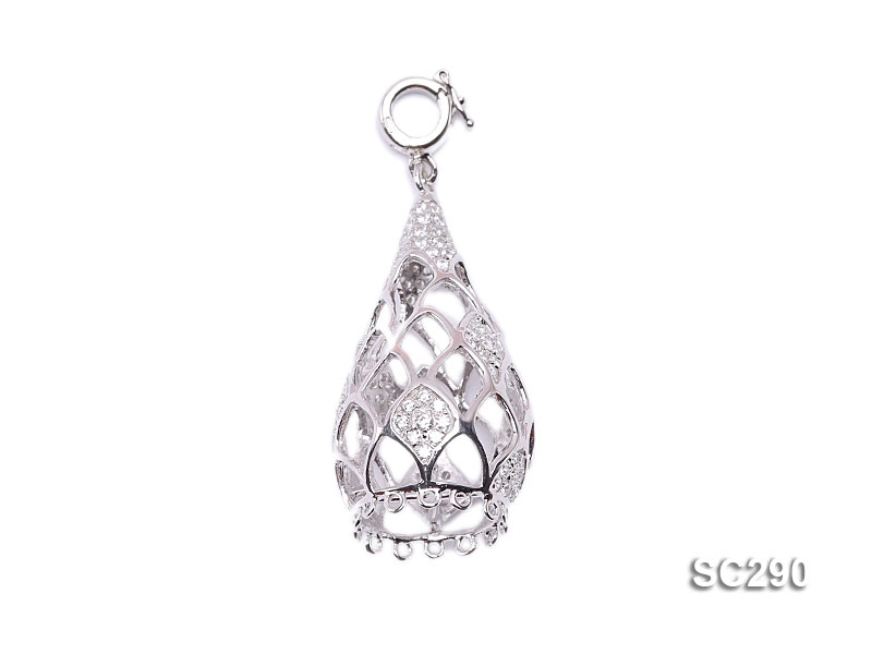 20x45mm Drop-shaped Silver Accessories with Zircons
