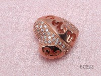 15x15mm Heart-shaped Rose Gold-plated Silver Accessories with Zircons