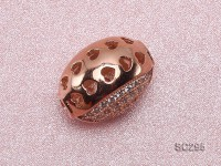 10x15mm Rose Gold-plated Silver Accessories with Zircons
