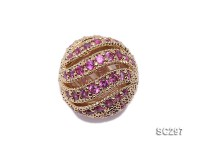 13mm Round Gold-plated Silver Accessories with Zircons