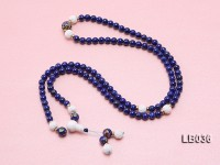6mm Azure Blue Round Lapis Lazuli Beads Elasticated Bracelet with Tridacna Beads