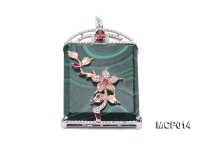 35x40mm Rectangular Malachite Pendant