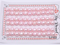 Wholesale Cards of 8-8.5mm Pink Flat Pearls–33 Pairs