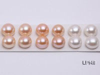 Super-size 14-14.5mm Natural White/Pink Flat Loose Pearl