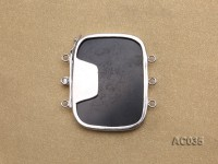 30x40mm Three-row Silver-Edged Black Resin Cameo Clasp