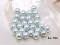 Wholesale 12-12.5mm Silver Blue Round Seashell Pearl Bead