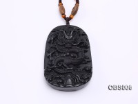 40x60mm Carved Black Obsidian Pendant