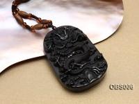 40x60mm Carved Black Obsidian Pendant