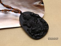 45x60mm Carved Black Obsidian Pendant