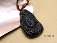 30x55mm Carved Black Obsidian Pendant