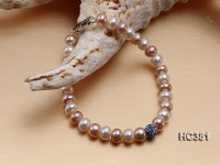 6.5-7mm Flat White & Pink Cultured Freshwater Pearl Bracelet