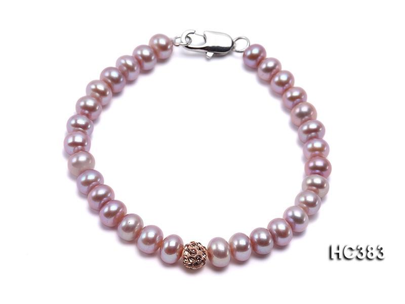 6.5-7mm Flat Lavender Cultured Freshwater Pearl Bracelet