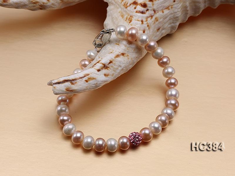 6.5-7mm Flat Pink Cultured Freshwater Pearl Bracelet