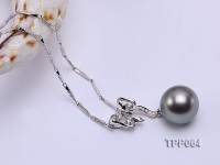 10.5mm Black Tahitian Pearl Pendant with 14k White Gold Bail Dotted with Diamonds