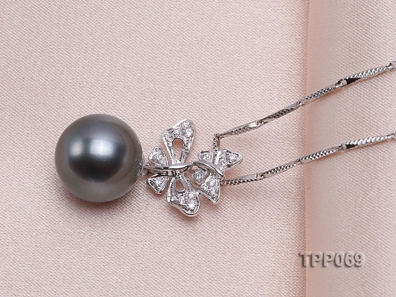 10.5mm Black Tahitian Pearl Pendant with 18k White Gold Bail Dotted with Diamonds