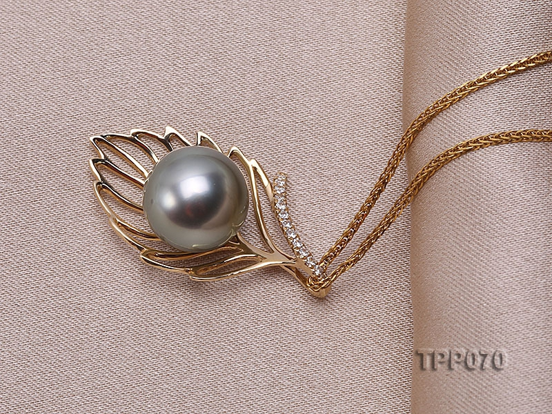 10mm Round Black Tahitian Pearl Pendant with 14k Gold Bail dotted with Diamonds