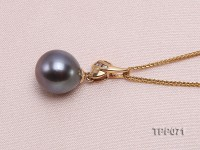 10.2mm Round Black Tahitian Pearl Pendant with 14k Gold Bail dotted with Diamonds