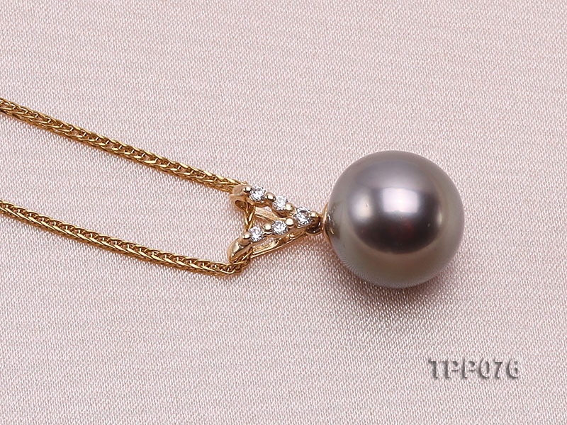 10.5mm Round Black Tahitian Pearl Pendant with 14k Gold Bail dotted with Diamonds