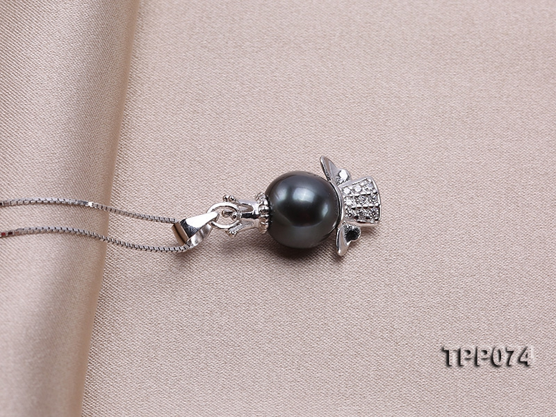 10.5mm Round Black Tahitian Pearl Pendant with Silver Chain