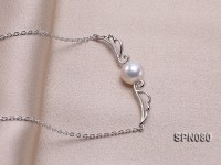 8.5mm AAA top quality akoya pearl pendant with silver chain