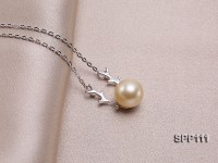 10mm Golden South Sea Pearl Pendant with silver chain