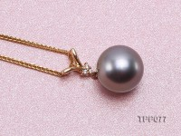 10.5mm Black Tahitian Pearl Pendant with 14k Gold Bail dotted with Diamonds